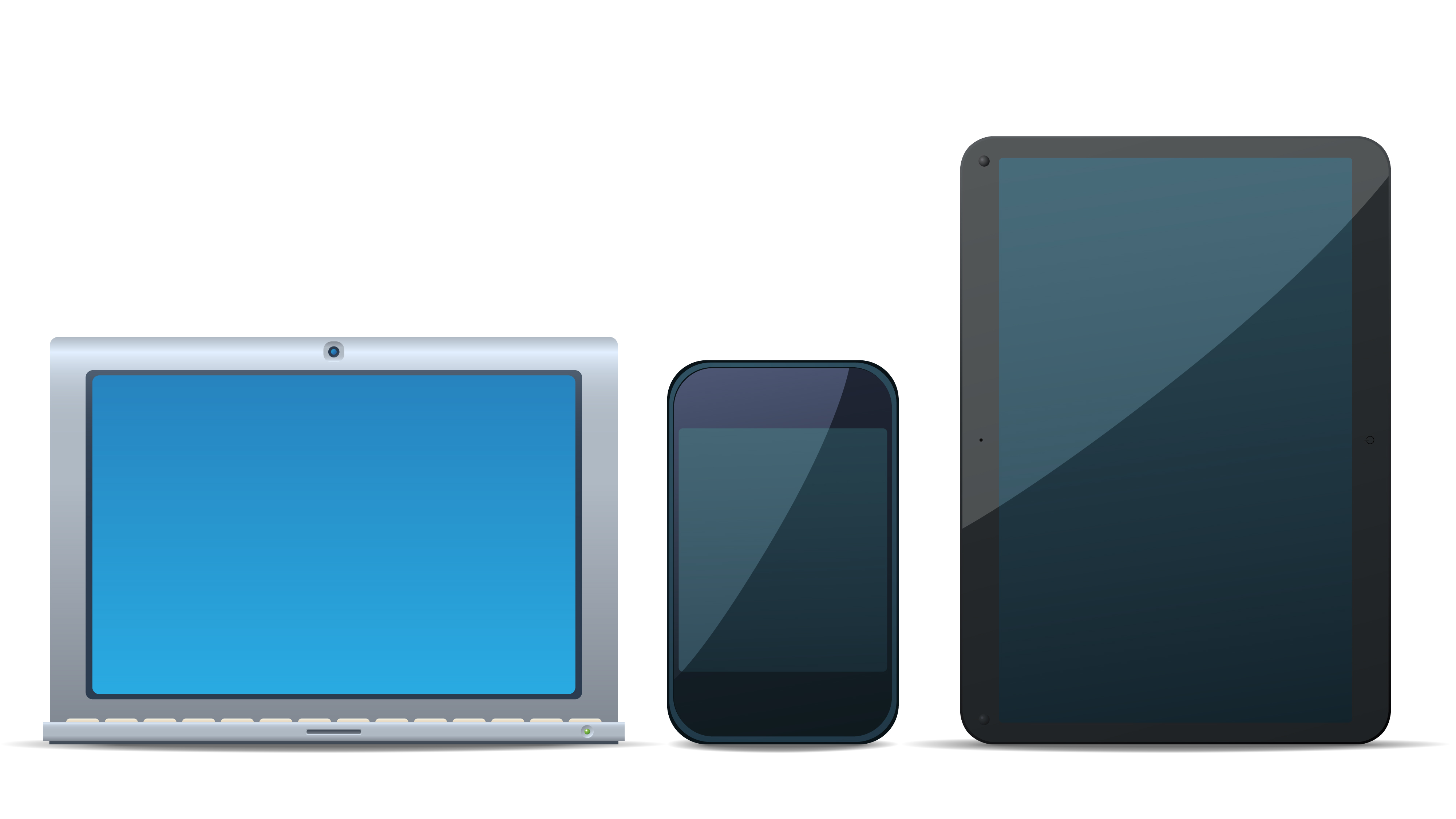 Laptop, phone, and tablet