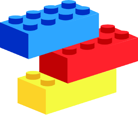 Blue, red, and yellow building bricks